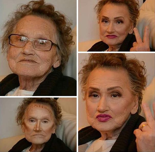 80 летняя бабушка попросила внучку накрасить её и стала интернет сенсацией!