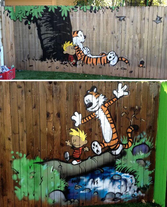 Как нарисовать на заборе рисунок своими руками 139