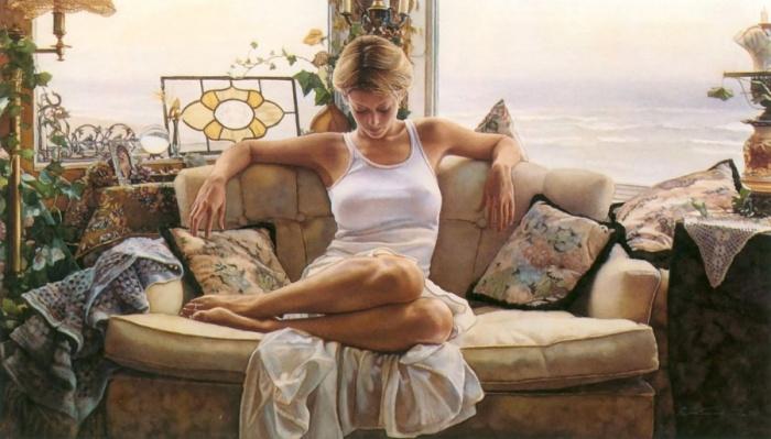 Любимые темы художника — женщины, которые отражают насыщенность и невинность.