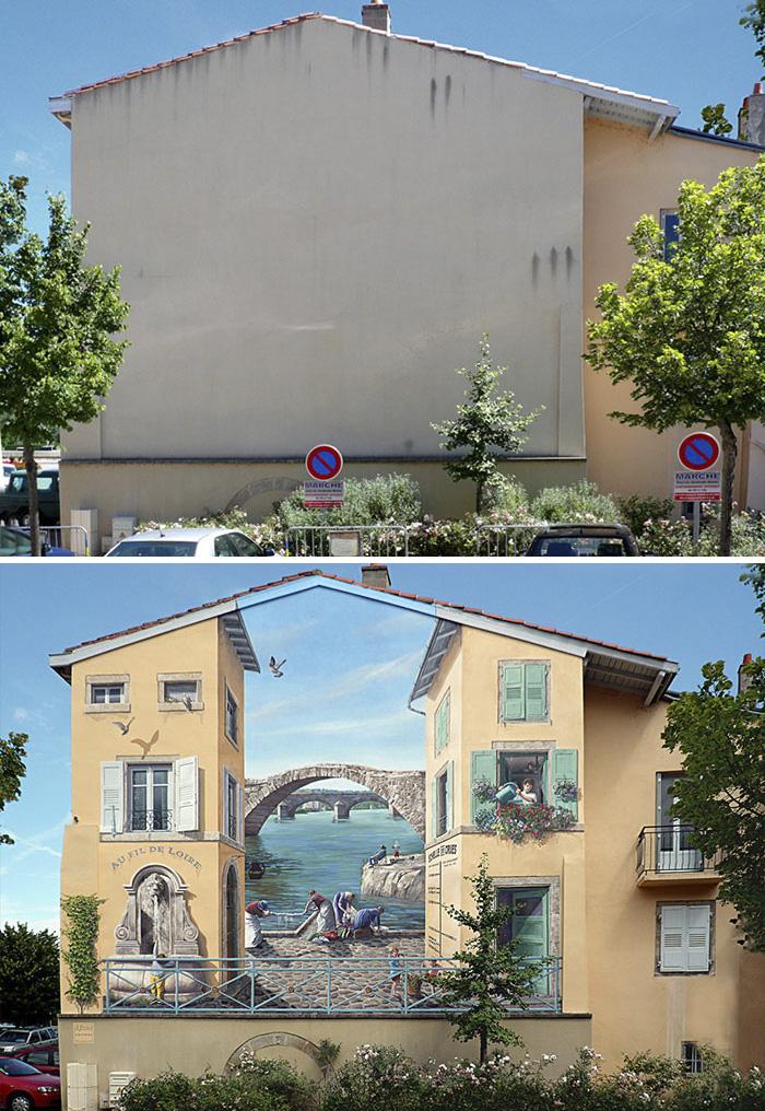 Французский художник украсил скучные стены города яркими сценами, полными жизни